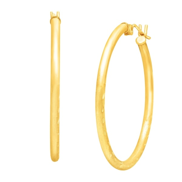 Just Gold Etched 30 mm Hoop Earrings in 10K Gold - YELLOW