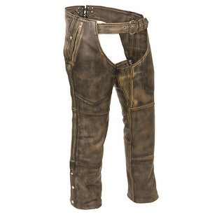 Mens Distressed Leather 4 Pocket Thermal Lined Chaps