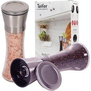 Telfer Stainless Steel Salt and Pepper Grinder, Set of 2, Adjustable Coarseness Ceramic Grinder Gears