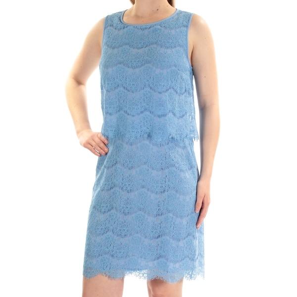ANNE KLEIN Womens Blue Lace Sleeveless Jewel Neck Above The Knee Sheath Dress Size: M