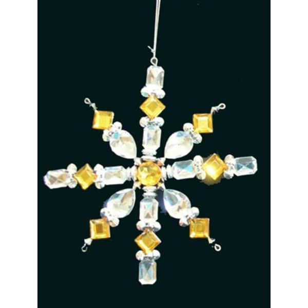 Gold & Clear Jeweled Snowflake Christmas Ornament 6.5""