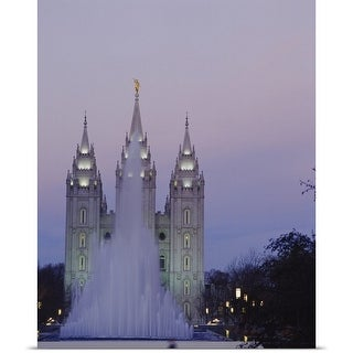 Poster Print entitled Fountain in front of a temple, Mormon Temple, Salt Lake City, Utah