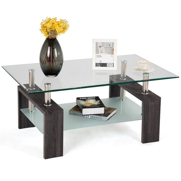 appealing black glass coffee table living room | Shop Costway Black Rectangular Tempered Glass Coffee Table ...