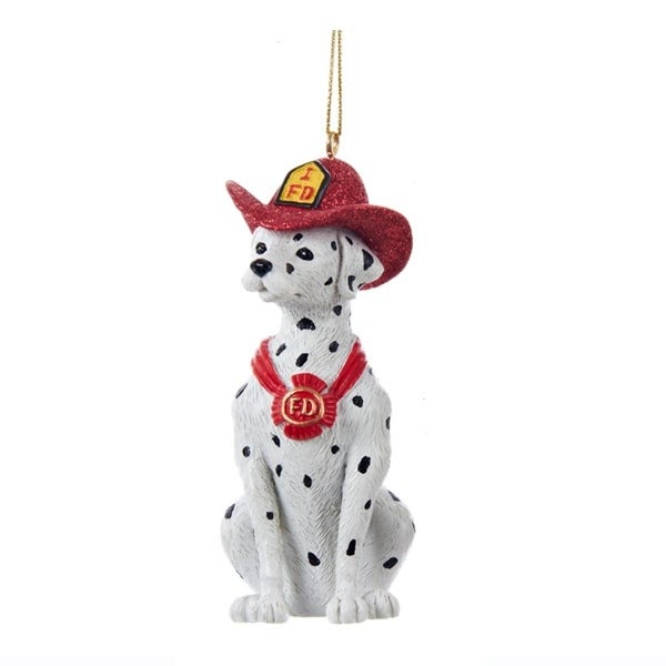 "3.5"" Fire House Dalmatian Puppy Dog Firefighter's Christmas Ornament"