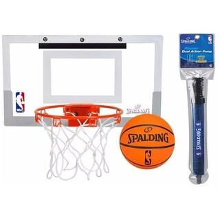 "Spalding NBA Slam Jam Over-The-Door Mini Basketball Hoop Set and 12"" pump bundle"