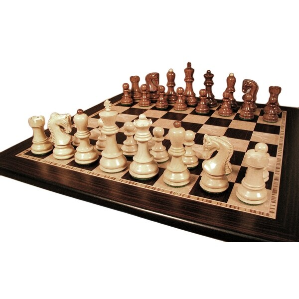 Sheesham Old Russian Chess Set With Ebony / Maple Board - Multicolored