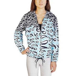 Miu Miu Women's Nylon Paisley Print Jacket Blue
