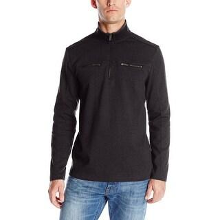 Calvin Klein CK Sweater Small S Black Heather Liquid Cotton Mockneck