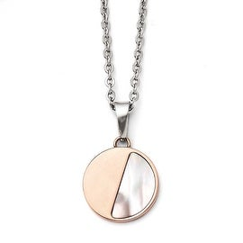 Chisel Stainless Steel Pink IP-plated with Mother of Pearl Pendant Necklace (2 mm) - 18 in