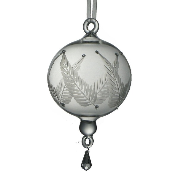 """Set of 2 Mouth Blown Egyptian Glass Etched Ball with Drop Christmas Ornament 7"""""""
