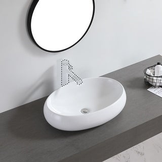 "Link to Ceramic Basin Above Counter Basin Curved Oval White - 7'6"" x 9'6"" Similar Items in Sinks"