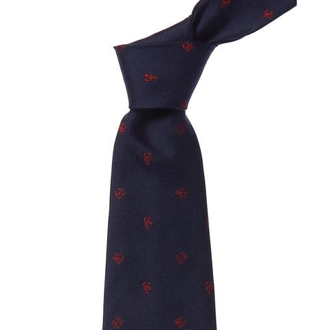 Brooks Brothers Navy Lobster & Crabs Silk Tie - os