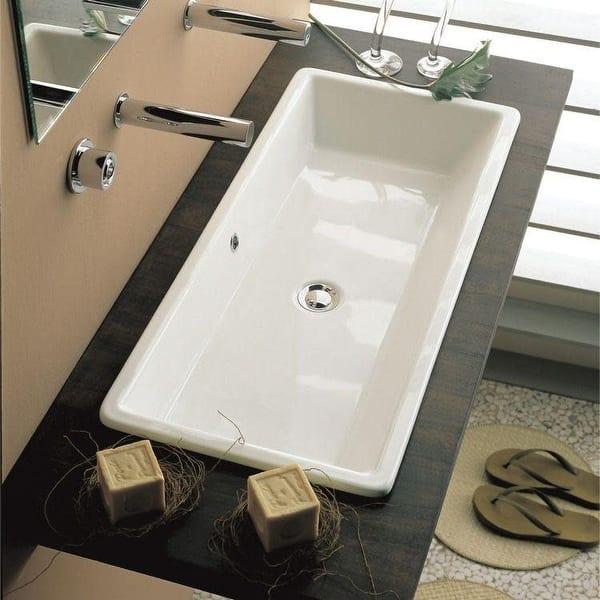 Nameeks 8033 Scarabeo Gaia 34 1 4 Ceramic Drop In Bathroom Sink White No Hole