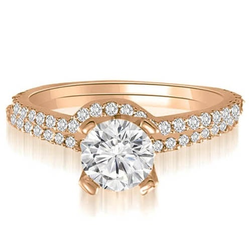 1.07 cttw. 14K Rose Gold Classic Petite Round Cut Diamond Bridal Set