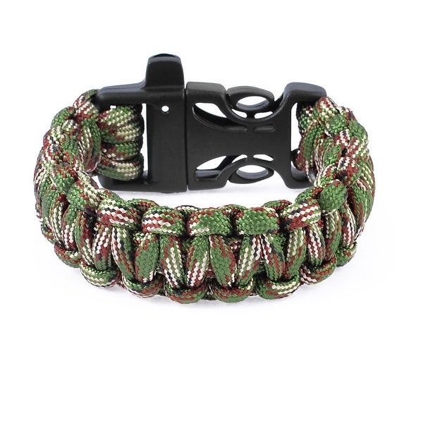 Unique Bargains Outdoor Plastic Side Release Buckle Survival Whistle Bracelet Armygreen