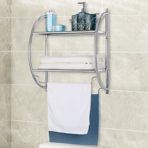 Gymax Wall Mount Shower Organizer Holder 2-Tier Bathroom Rack Storage Toilet Towel Bar