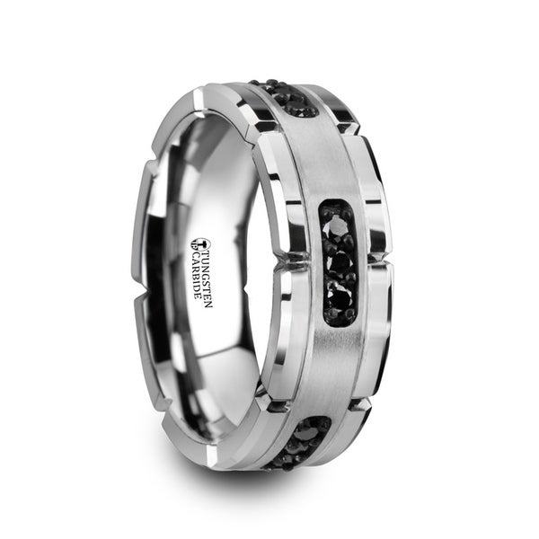 Valor Grooved Tungsten Ring With Silver Inlay Black Diamonds