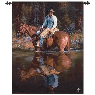 """Southwest Sound in the Timber Cowboy Cotton Tapestry Wall Hanging 47"""" x 35"""""""