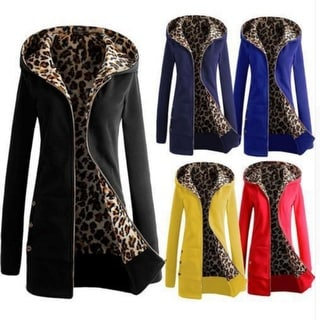 S-6XL Plus Size Womens Long Sleeve Fleece Sweat Zip Hoodie Leopard Casual Coat