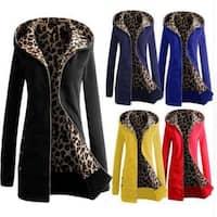 S-6XL Plus Size Womens Long Sleeve Fleece Sweat Zip Hoodie Leopard Casual Coat
