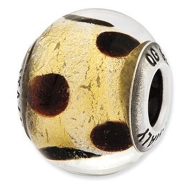 Italian Sterling Silver Reflections Murano Yellow & Brown Glass Bead
