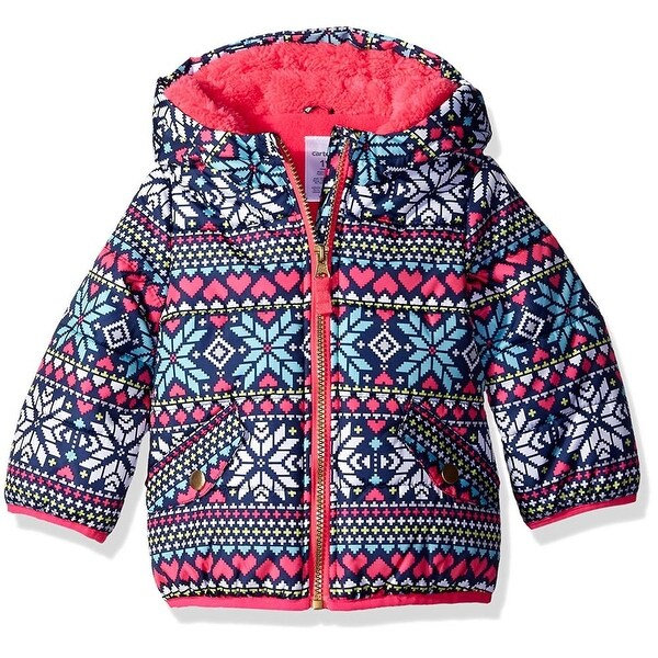 Carters Girls 12-24 Months Fair Isle Bubble Jacket - Multi
