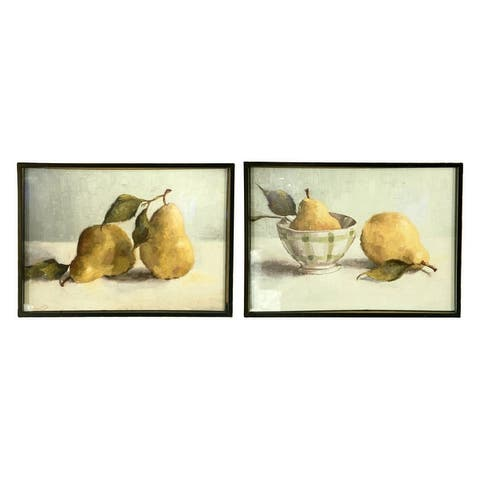 Pear Image Wall Decor with Shadowbox Metal Frame (Set of 2 Styles) - Grey