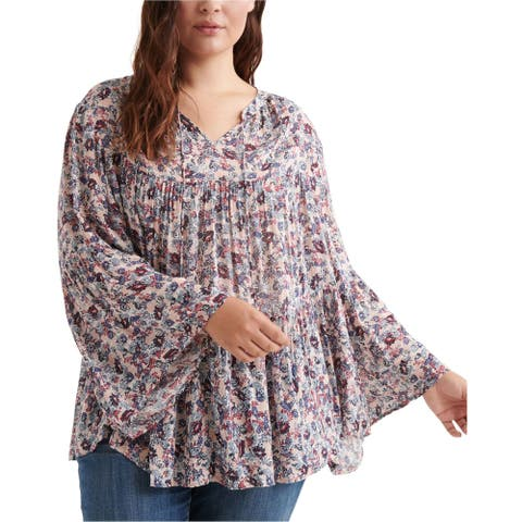Lucky Brand Womens Floral Peasant Blouse, pink, 2X