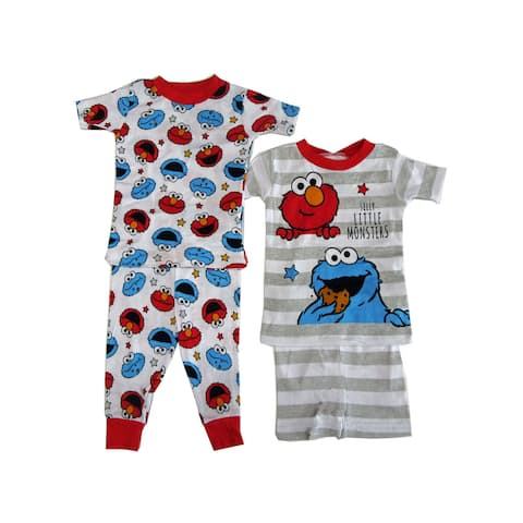 Sesame Street Little Boys Cookie Monster Elmo 2 pack Pajama 2pc Sets