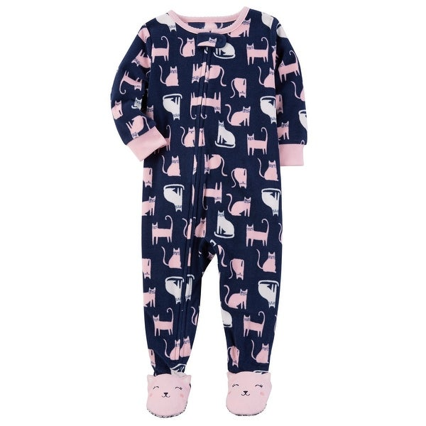 b7498914e Shop Carter s Baby Girls  1 Piece Cat Fleece Pajamas