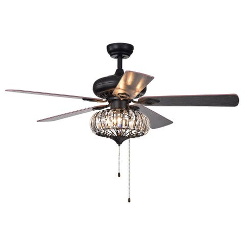"""52"""" Black Crystal Ceiling Fan with Five Reversible Blades - N/A"""