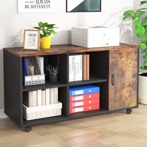 Mobile Lateral File Cabinet, Printer Stand with Storage Shelves