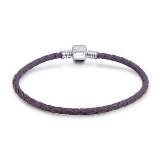 Bling Jewelry Lilac Braided Leather Cord Barrel Clasp Bracelet .925 Sterling Silver