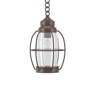 """Park Harbor PHEL2901 West Rock 8"""" Wide 1-Light Outdoor Mini Pendant with Lantern Style Cage and Seedy Glass"""