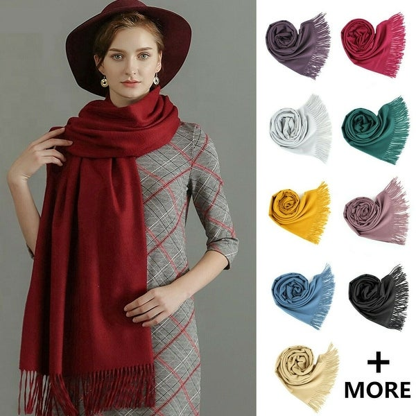 Cashmere Wool Solid Pashmina Shawl Scarf, Cozy For Women And Men - Large. Opens flyout.