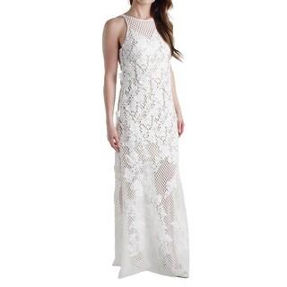 Vera Wang Womens Evening Dress Lace Floral Pattern