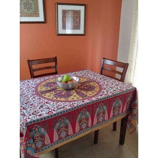 Handmade 100% Cotton Floral Peacock Tablecloth Tapestry Coverlet Beach Sheet Beach Throw Bed Sheet Red Twin