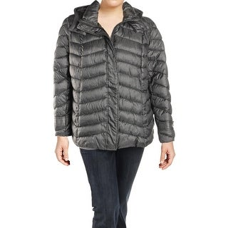 French Connection Womens Plus Packable Coat Winter Water Repellent