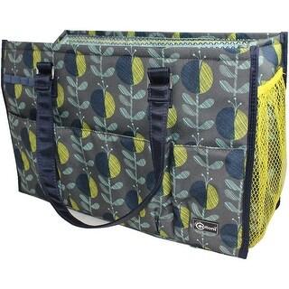 "Creative Options 5 Pocket Knitting Tote-15.5""X6.5""X10.25"" Navy, Gray & Yellow"