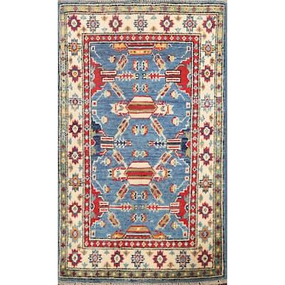 "Geometric Traditional Oriental Tribal Kazak Wool Area Rug Hand-knotted - 2'1"" x 3'3"""