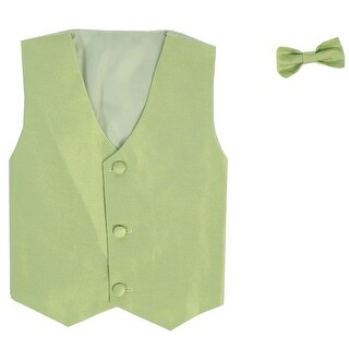 Baby Boys Apple Green Poly Silk Vest Bowtie Special Occasion Set 3-24M