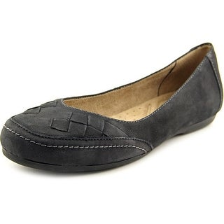 Naturalizer Remember Women Round Toe Leather Black Flats