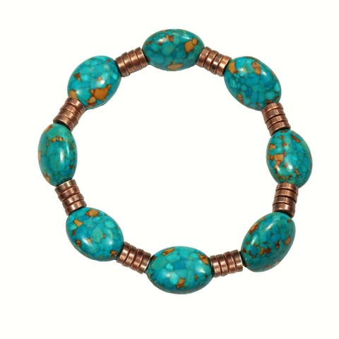Handmade Jewelry by Dawn Turquoise Magnesite and Copper Bracelet - turquoise.magnesite.and.copper