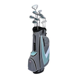New RAM G-Force Women's Complete Golf Set w/ 9 Clubs + Deluxe Stand Bag - gray / white / green-blue