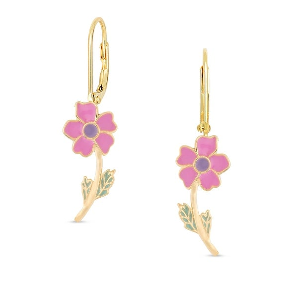 Lily Nily Girl's Flower Leverback Earrings - Pink