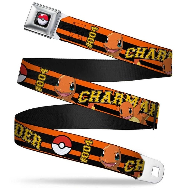 Pok Ball Full Color Black Charmander #004 Poses Pok Ball Stripe Orange Seatbelt Belt