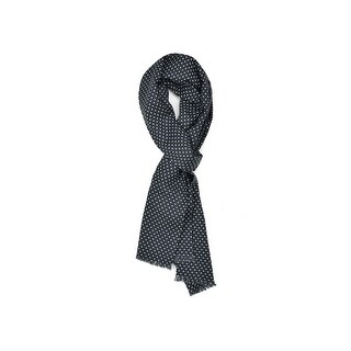 Tom Ford Men's Navy Polka Dot Print Wool Double Side Fringed Scarf - M