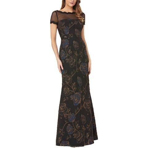 JS Collections Womens Evening Dress Metallic Floral - Black