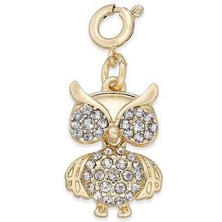 INC International Concepts Gold-Tone Crystal Owl Charm - YELLOW - 6x4x1