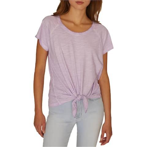 Sanctuary Clothing Womens Tie Basic T-Shirt, Purple, XX-Large